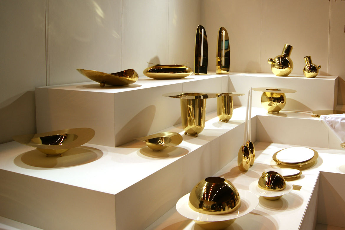 Alex Meitlis brass tabletop accessories Hazorfim London Design Festival 2013 trends