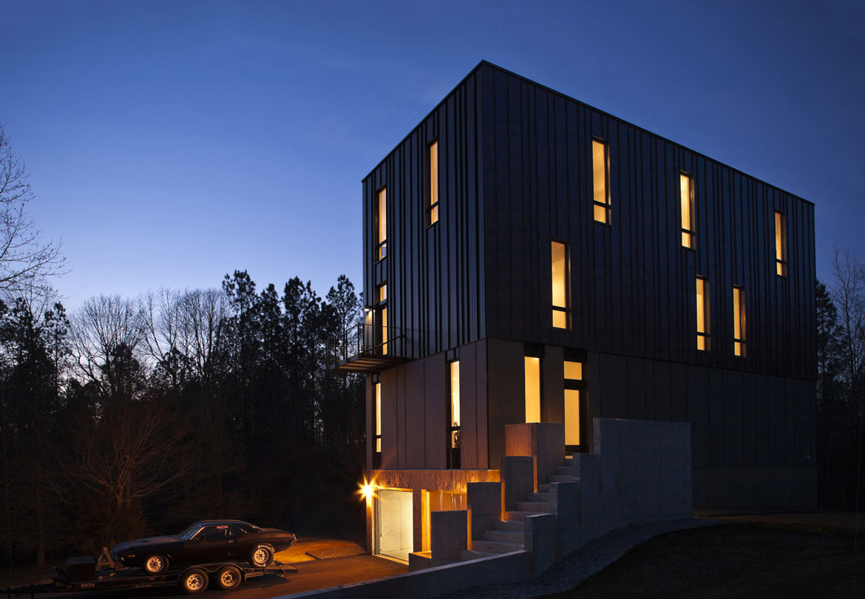 modern house with metal facade