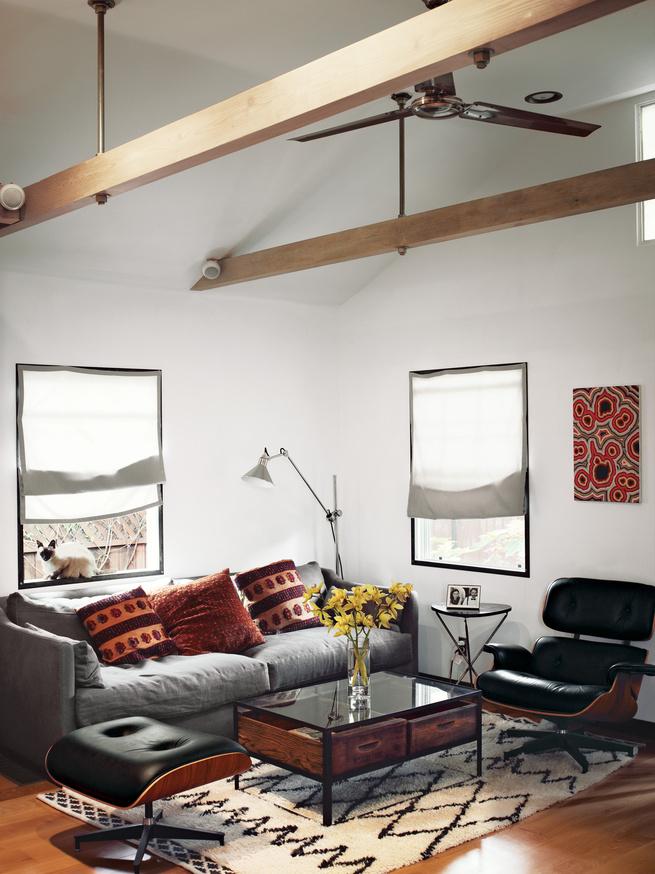 hollywood cabin loft living room