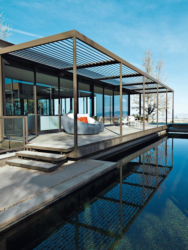 murren prefab residence indoor outdoor lounge space