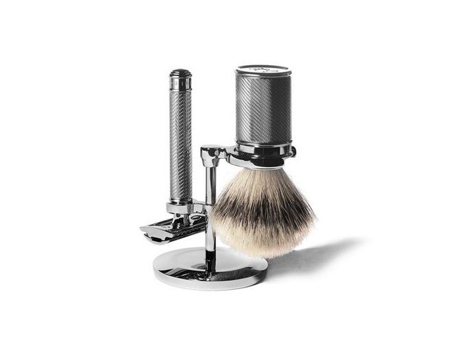 chrome-plated shaving kit