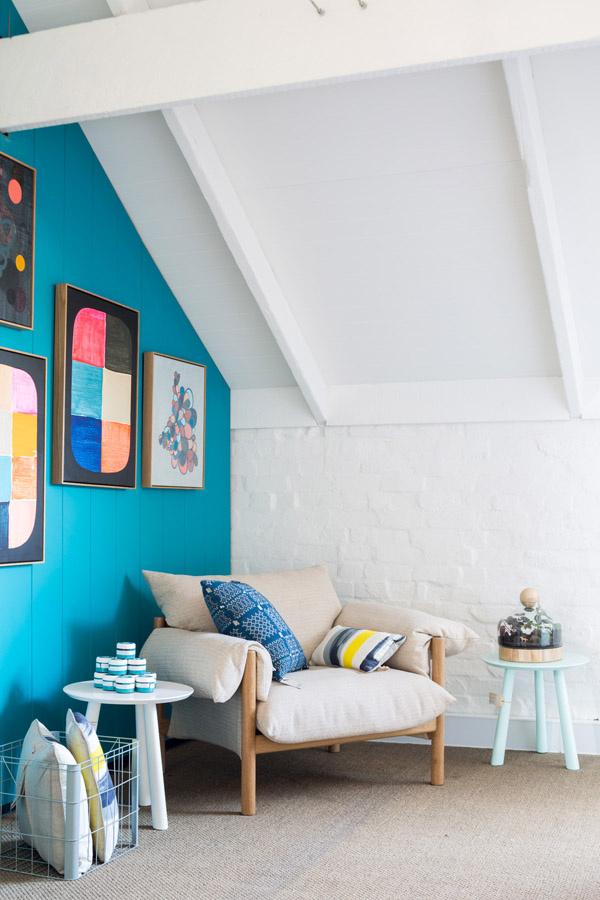 paint pillows flowers artwork nook armchair Design Files open house interior design