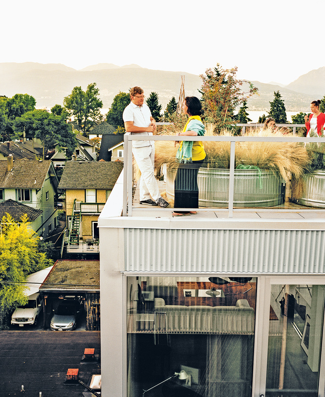 modern multiunit prefab in Vancouver exterior patio