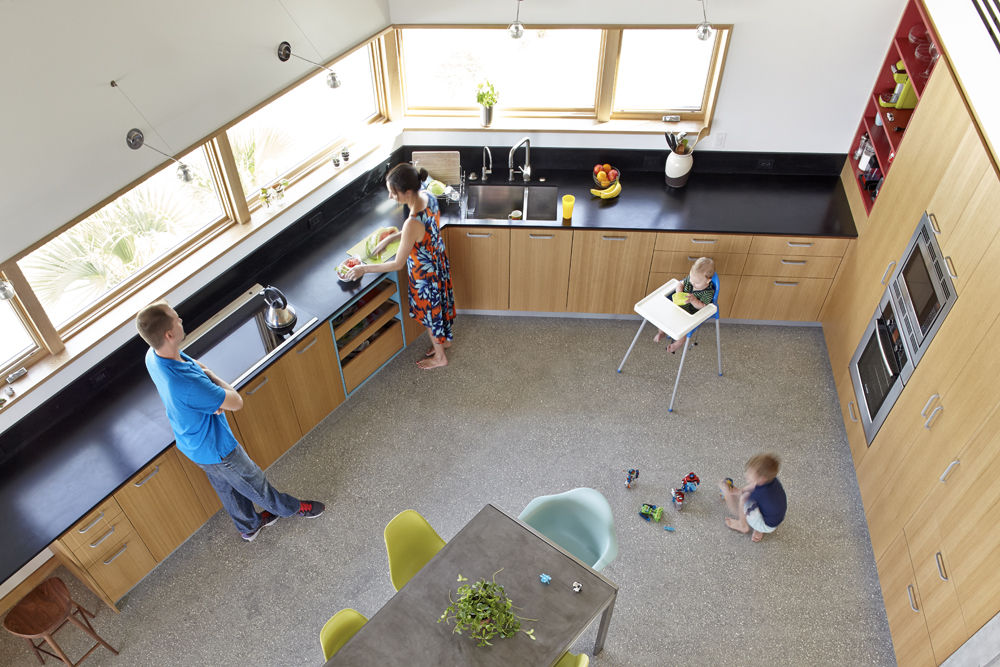 Traction Architecture beach house Florida concrete hurricane proof kitchen