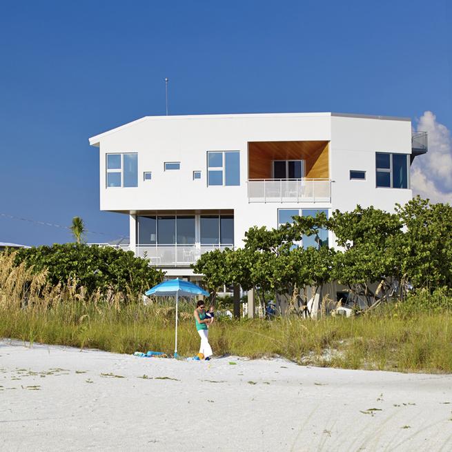 Traction Architecture beach house Florida concrete hurricane proof