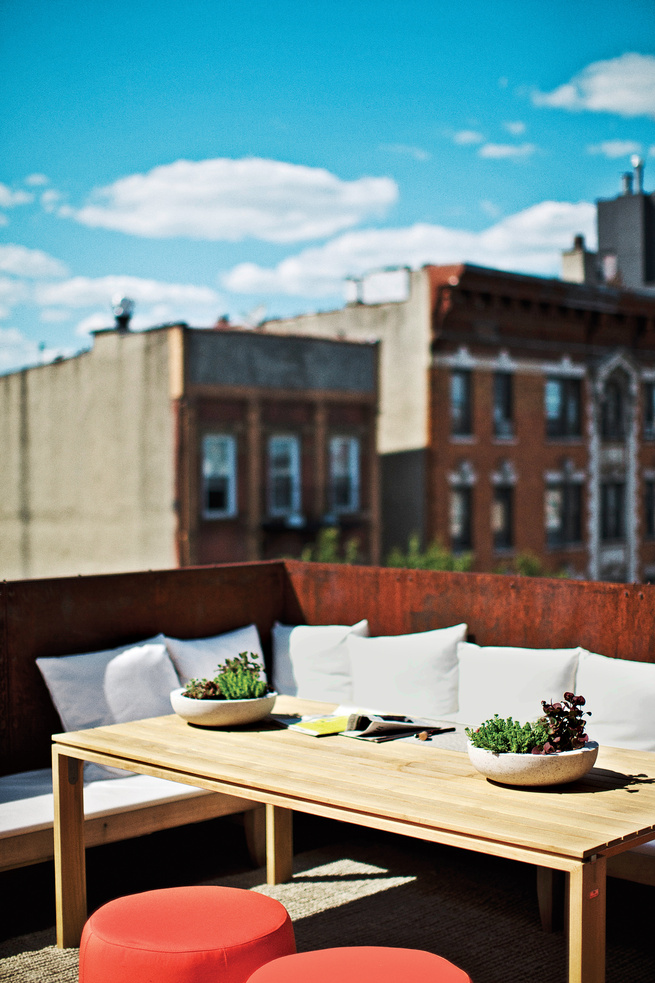Brooklyn renovation exterior rooftop lounge area