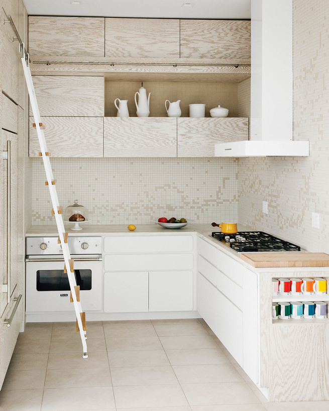arctic white kitchen with exposed wood grain interior