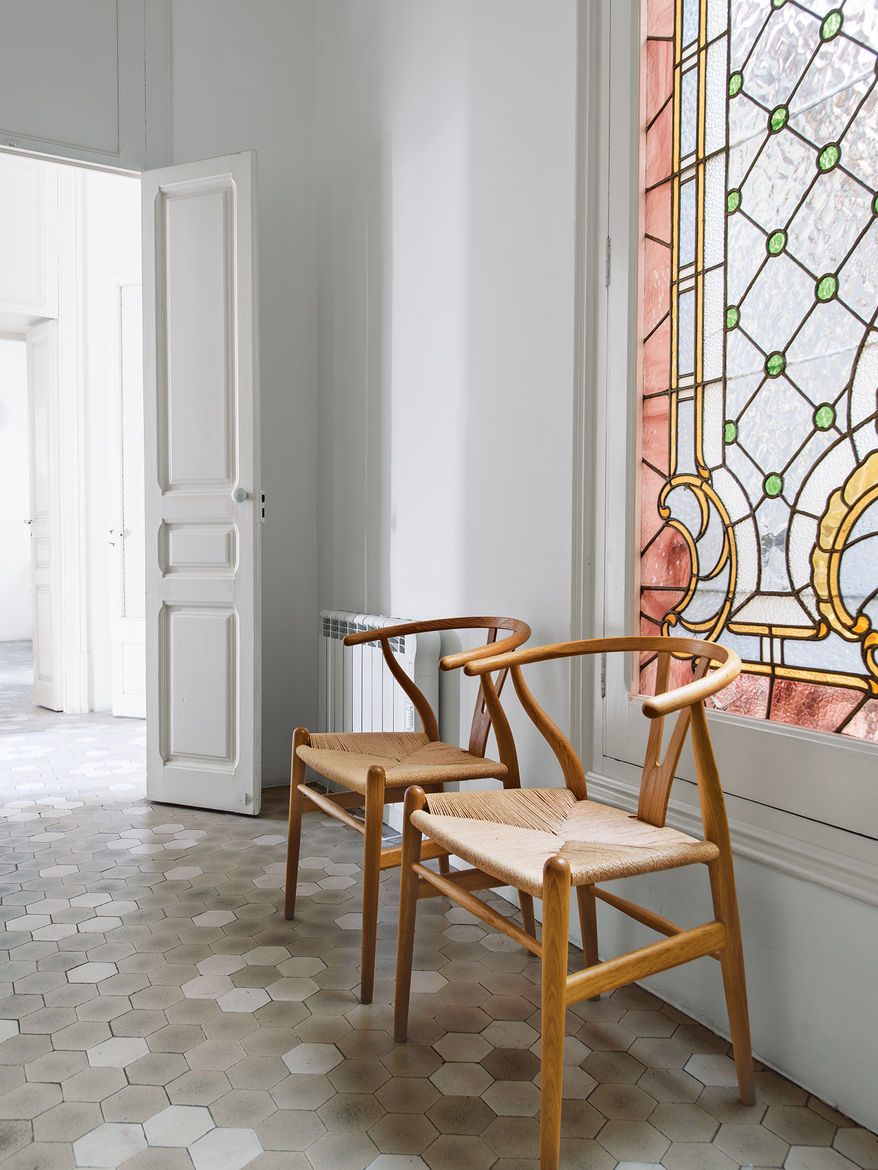 chairs, hall, stained glass