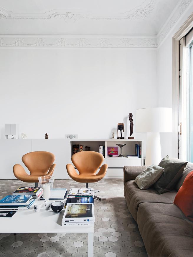 apartment, Barcelona, Spain, tan, chairs, white, tile