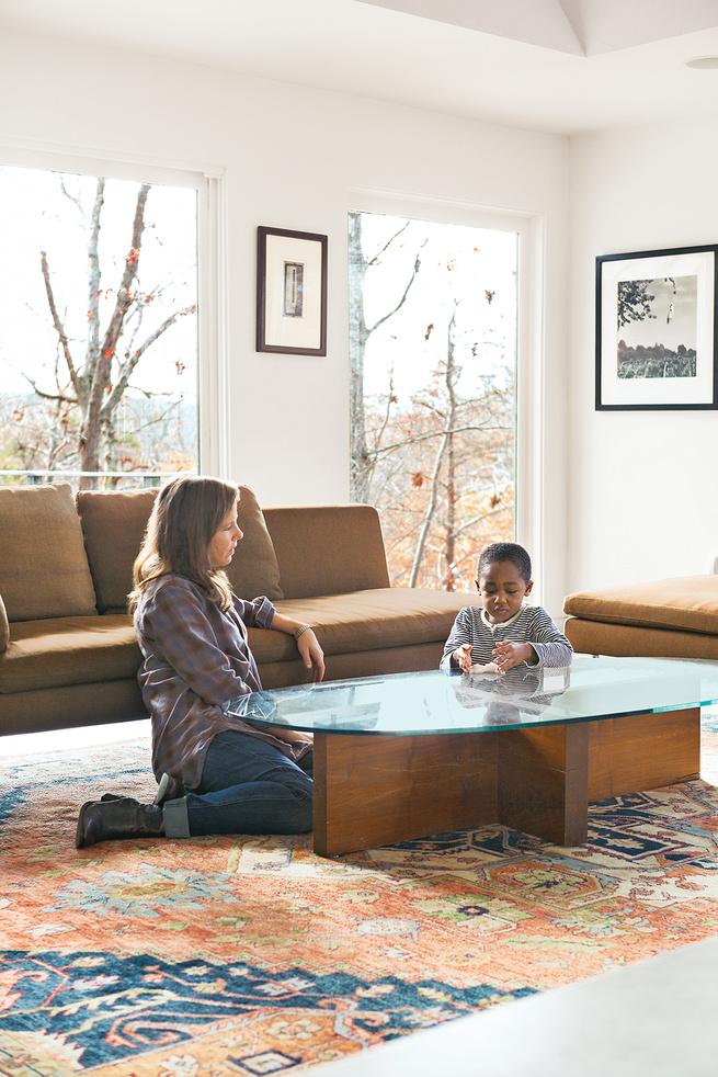 modern living room sofa glass table