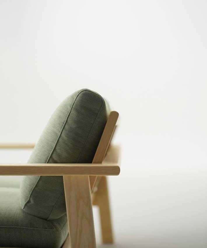green wood sofa