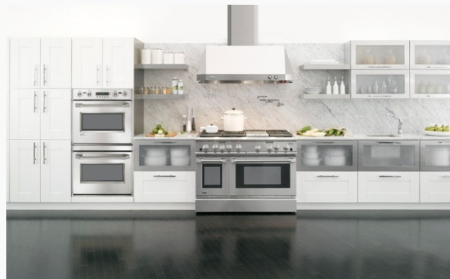 All white, modern kitchen with sink and cabinets