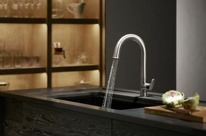 metal, modern faucet with touchless technology