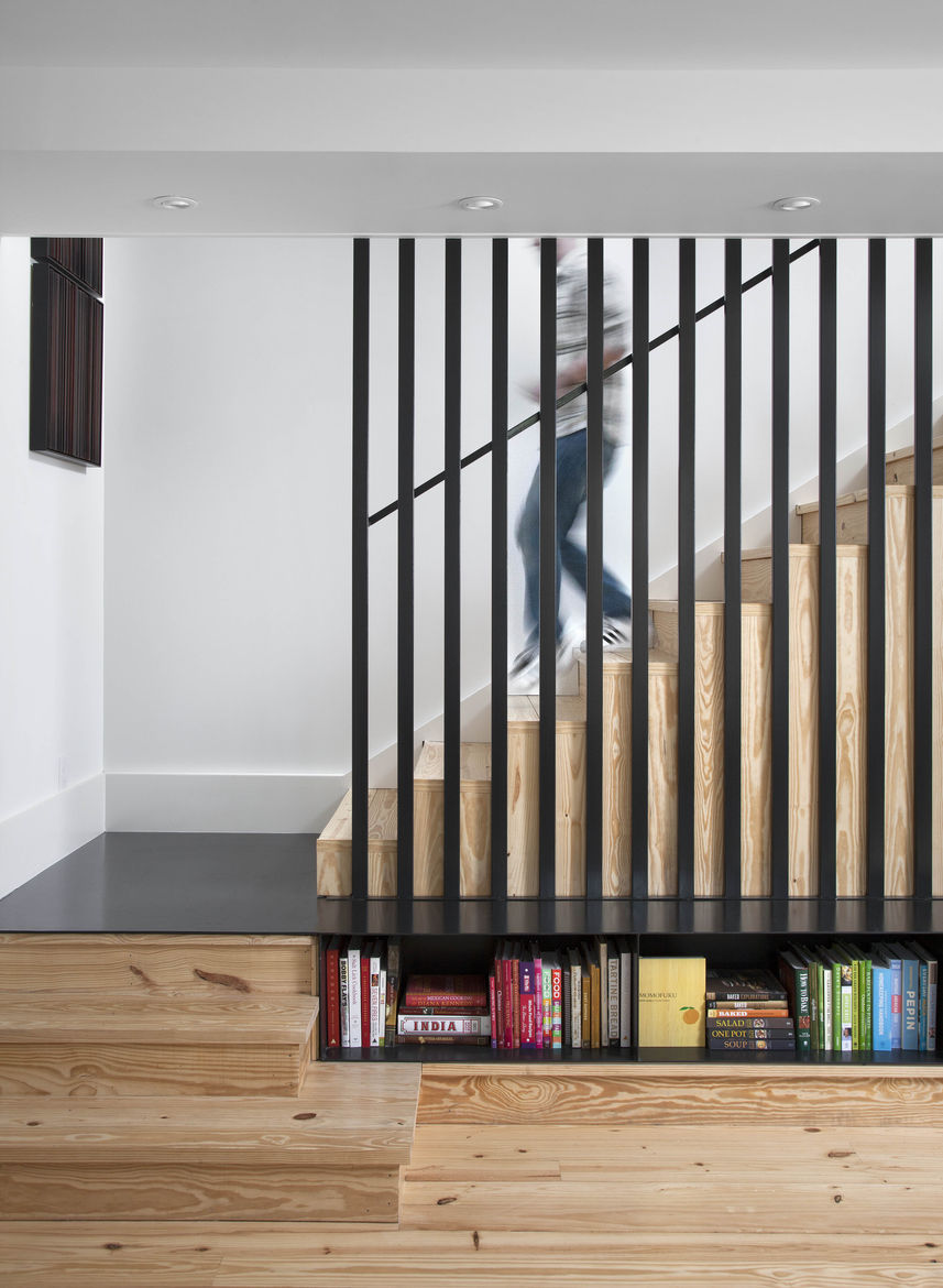 Steel slatted staircase with wooden steps