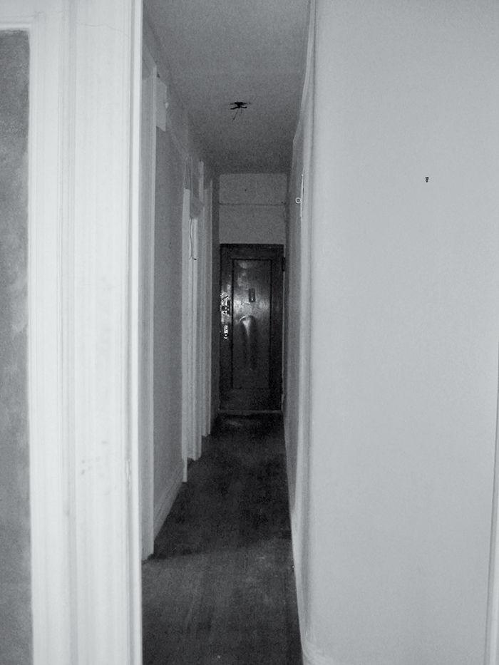 Dark hallway before shot