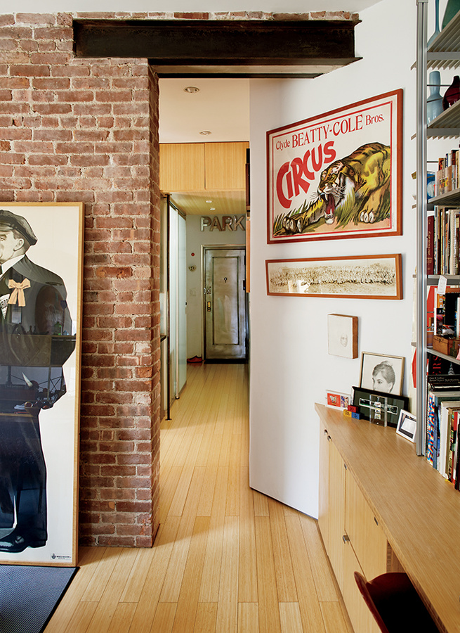 Hallway with exposed steel i-beam and graphic art