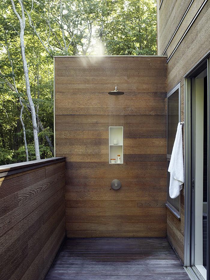 Modern wooden outdoor shower