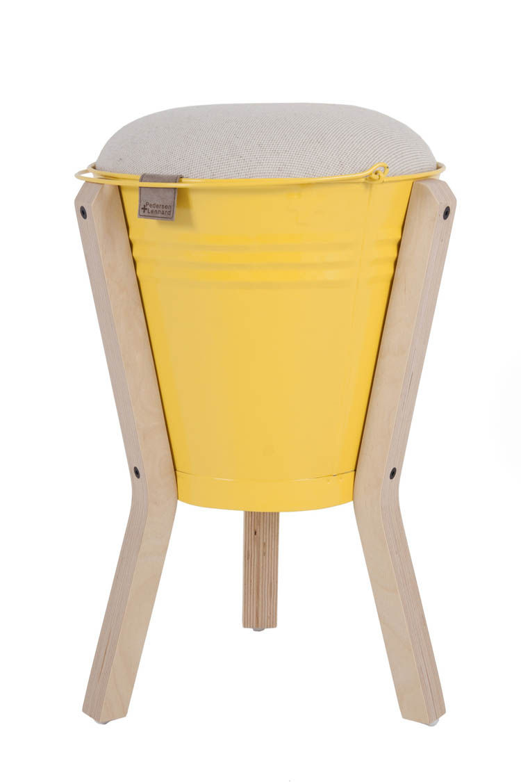 Stool made of a yellow bucket and plywood legs