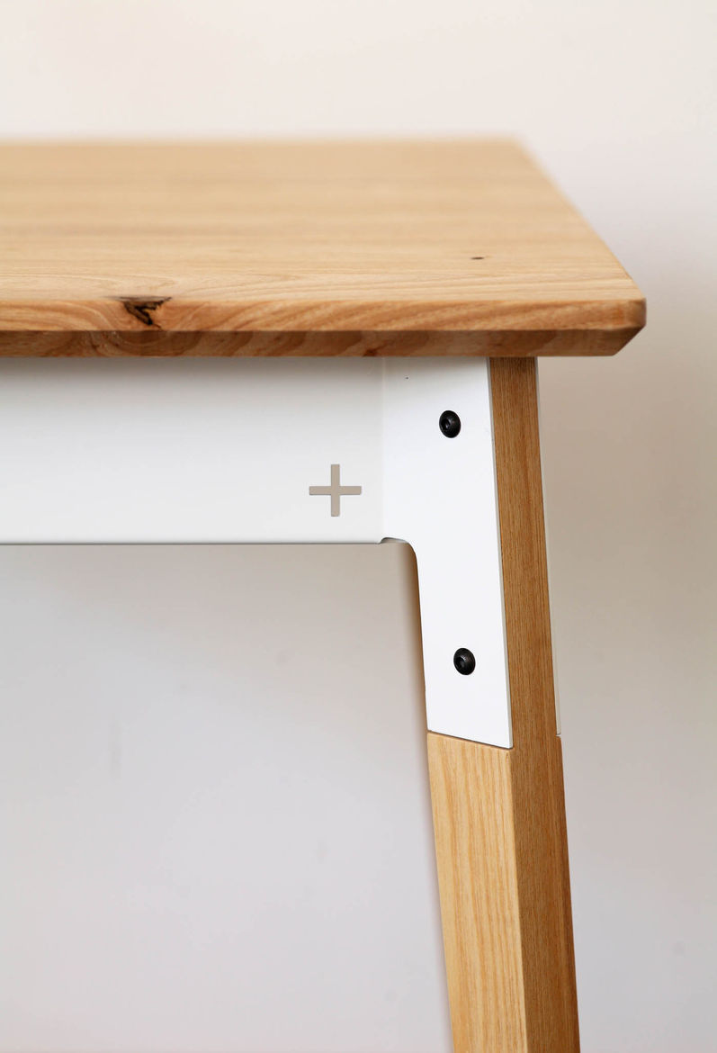 Close-up view of the modular table system