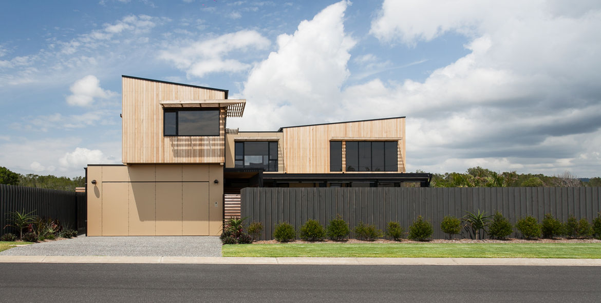 Byron Bay house facade from street.