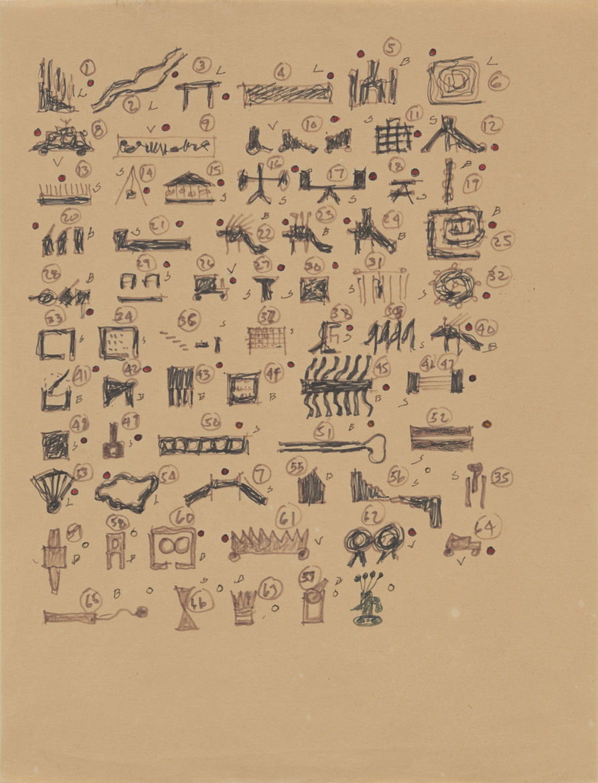 John Hejduk, Victims, 1986. Sketch of drawings
