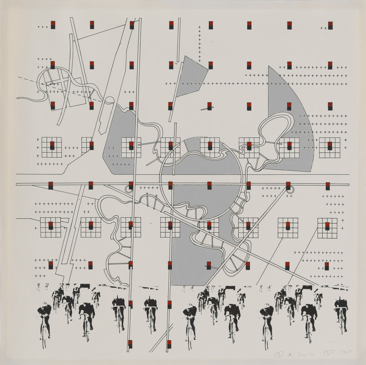 Bernard Tschumi drawing #4 K Series with cyclists