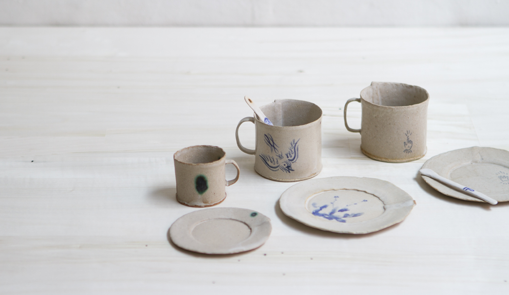 Simple ceramic mugs and plates by BDDW