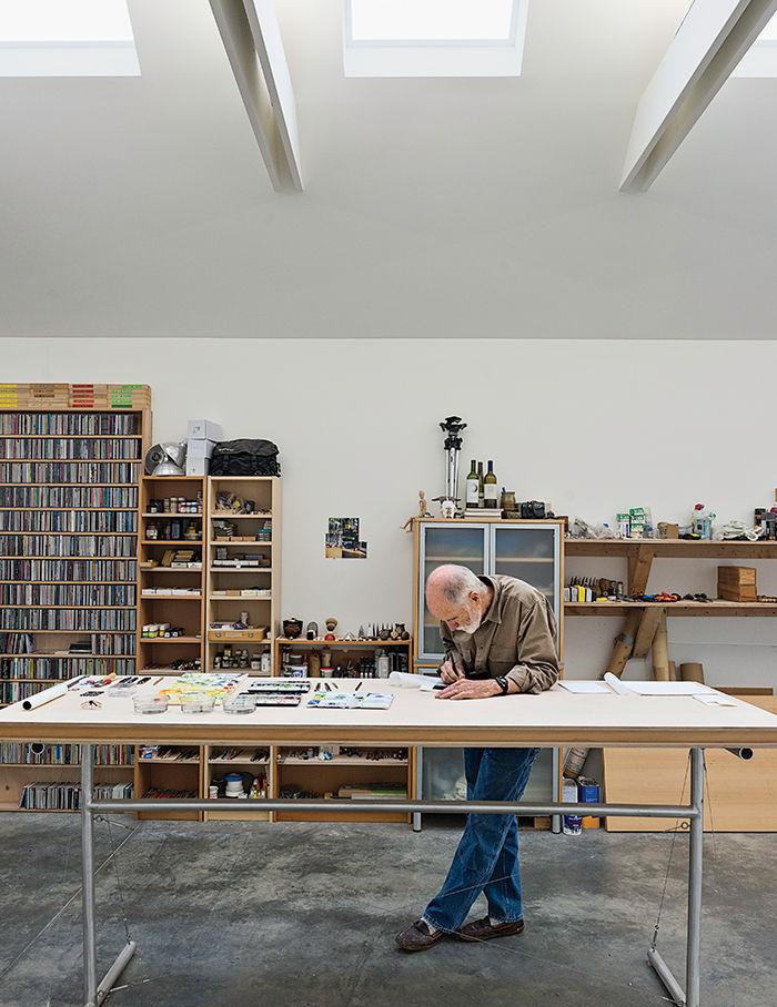 Art studio workspace with skylight
