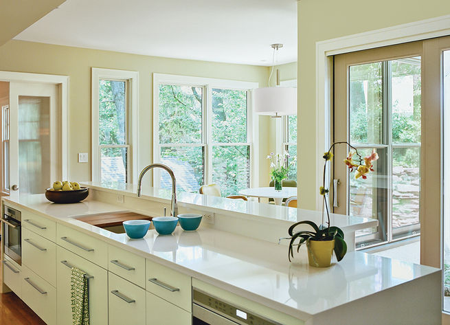 kitchen island with a view of the breakfast nook