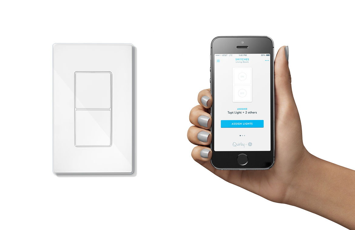 quirky and GE smart home connected technology tapt lightswitch