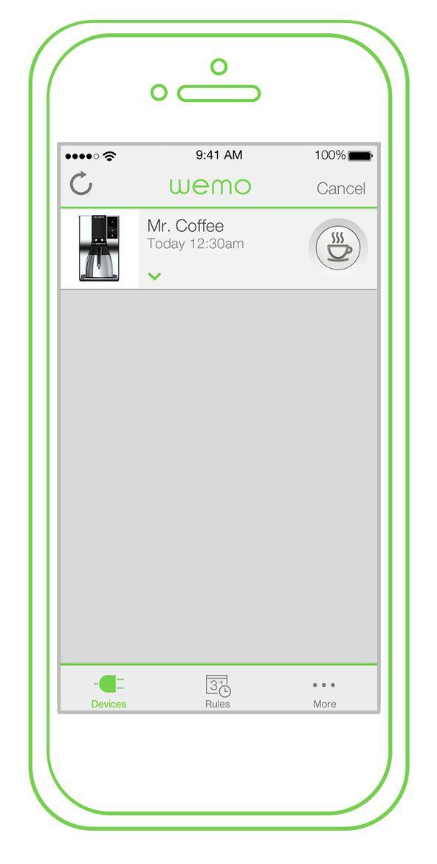 WeMo Coffee smartphone app.
