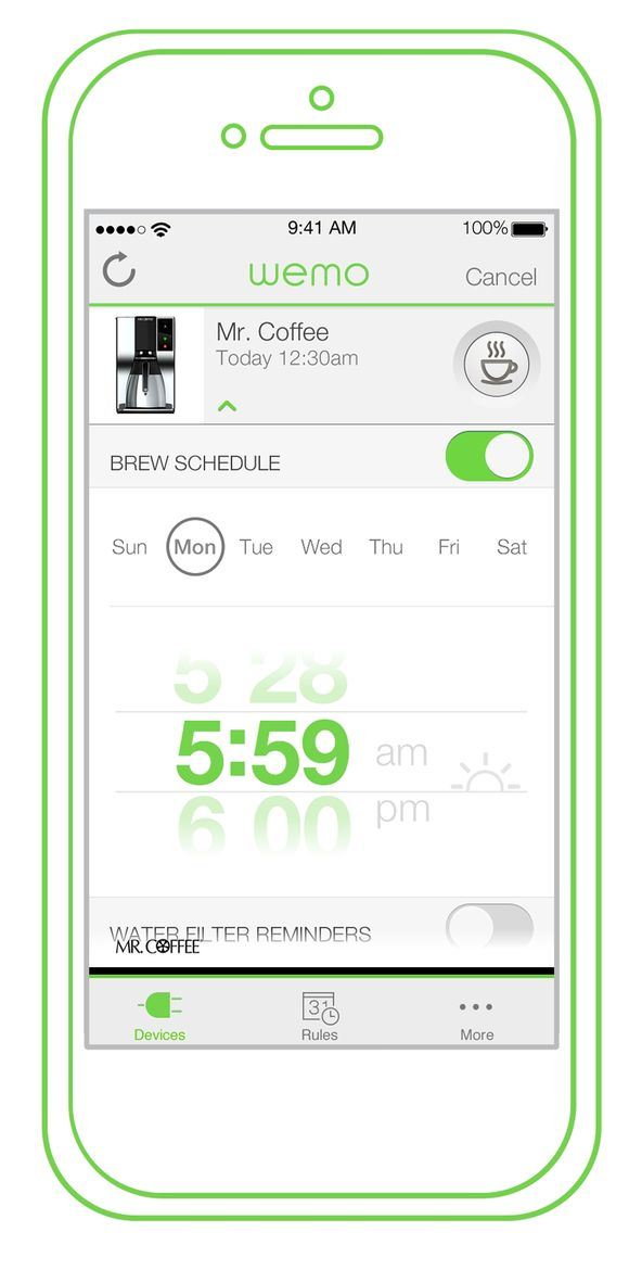 WeMo Coffee app.
