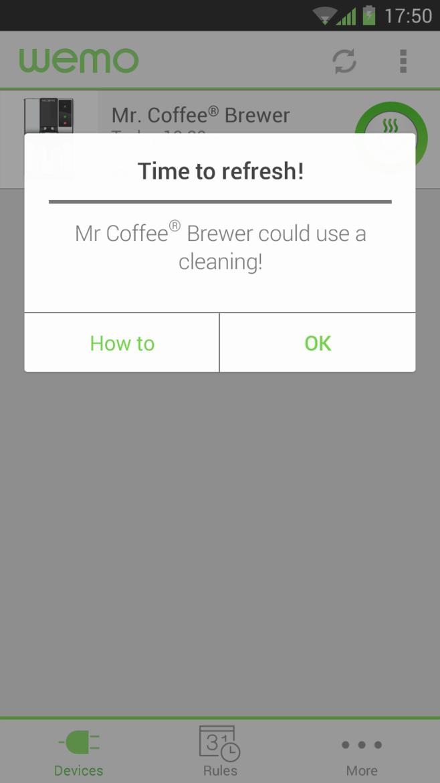 WeMo Coffee smartphone notification.