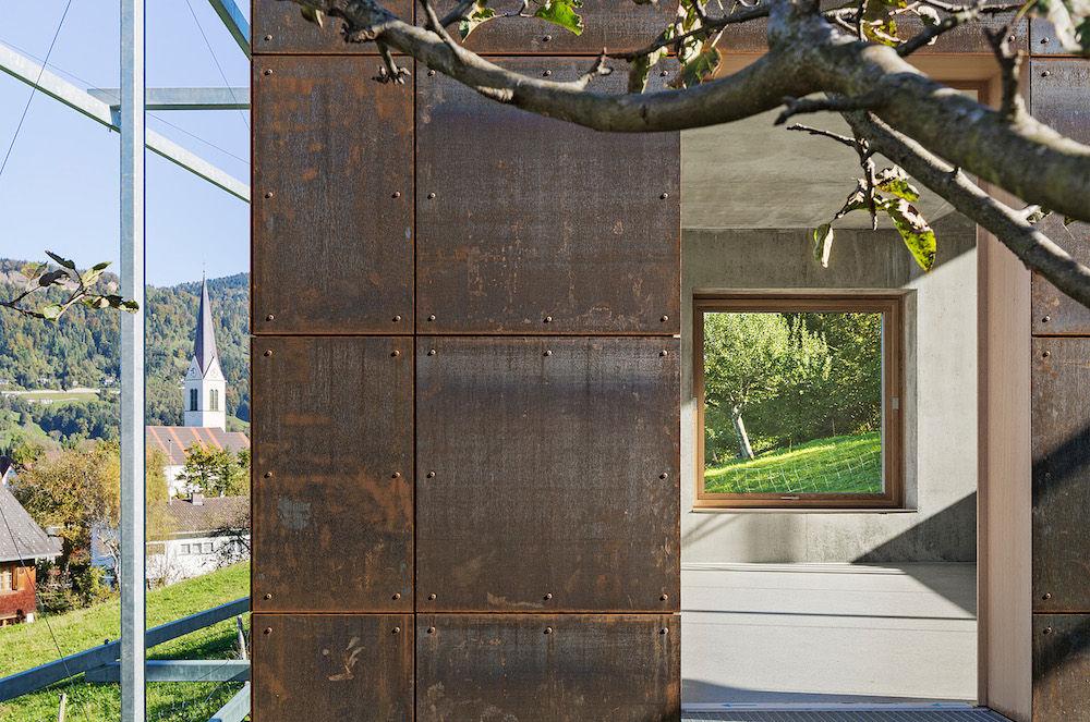 Camera Lucida artist's studio in Austria with weathered steel exterior and concrete interior