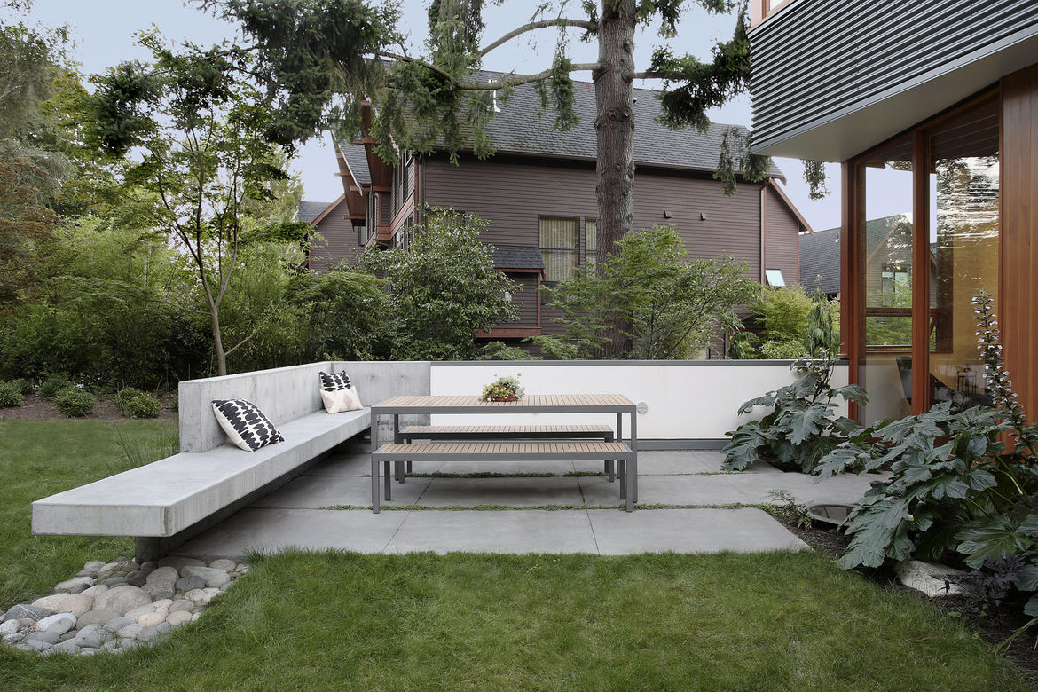 Outdoor sitting area with concrete benches in Seattle