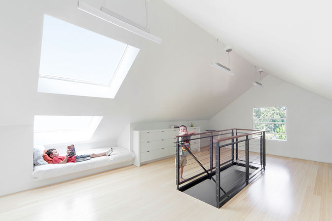 Attic renovation added a gabled roof.