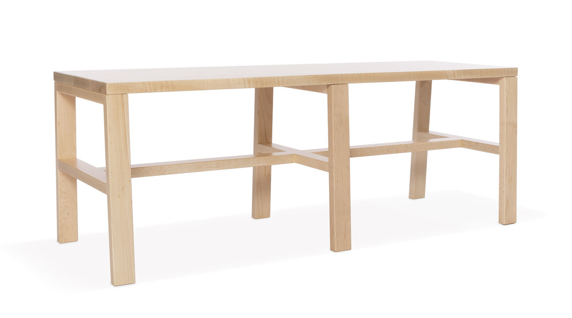 Natural finish maple long wood bench