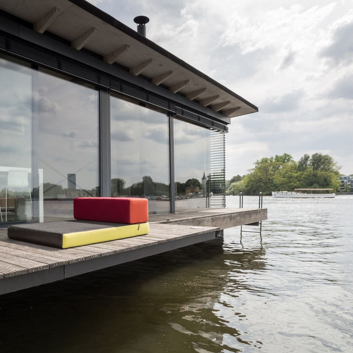Berlin house boat with wood deck