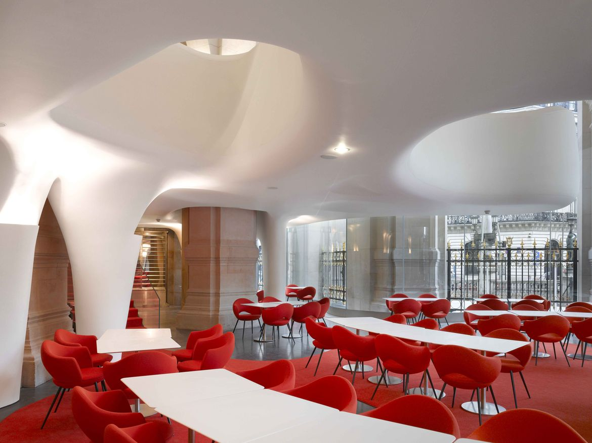Odile Decq's Phantom restaurant with red chairs