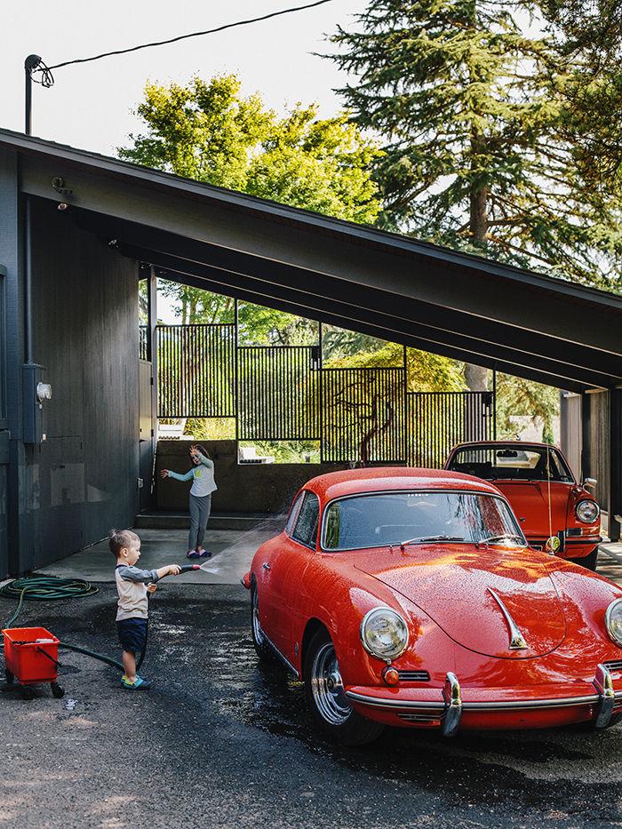 Carport on a midcentury house in Portland Oregon