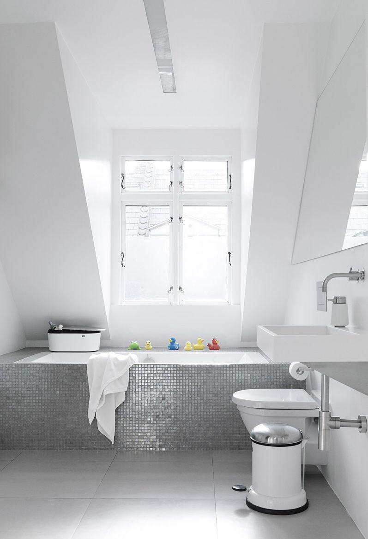 Monochromatic Bathroom in Copenhagen Townhouse
