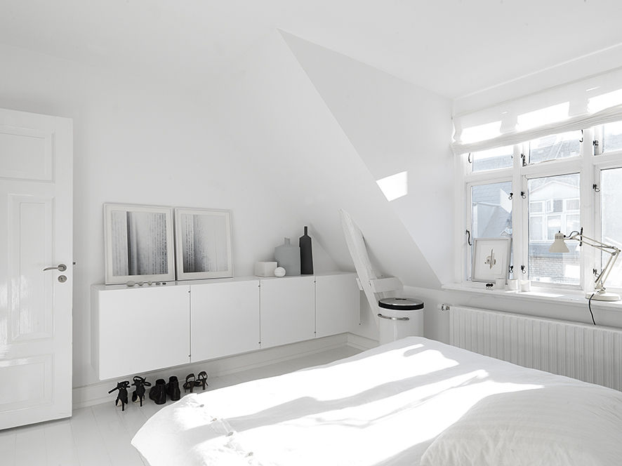 Monochromatic Master Bedroom in Copenhagen Townhouse