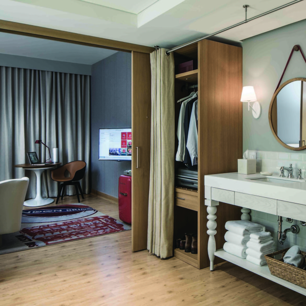 Virgin Hotel Chicago designed by Rockwell Group Europe guest room