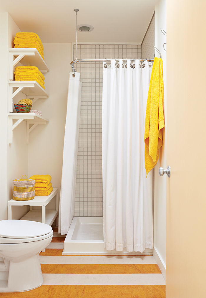 Fire Island white and yellow guest bathroom