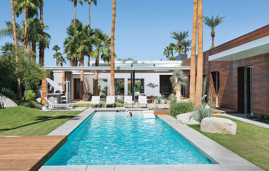 Backyard and Pool at Indian Wells Summer home in Southern California
