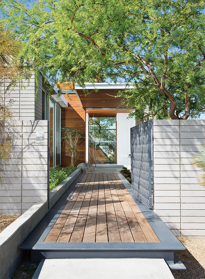 Ipe Walkway and Steel Gate at Indian Summer house in Southern California