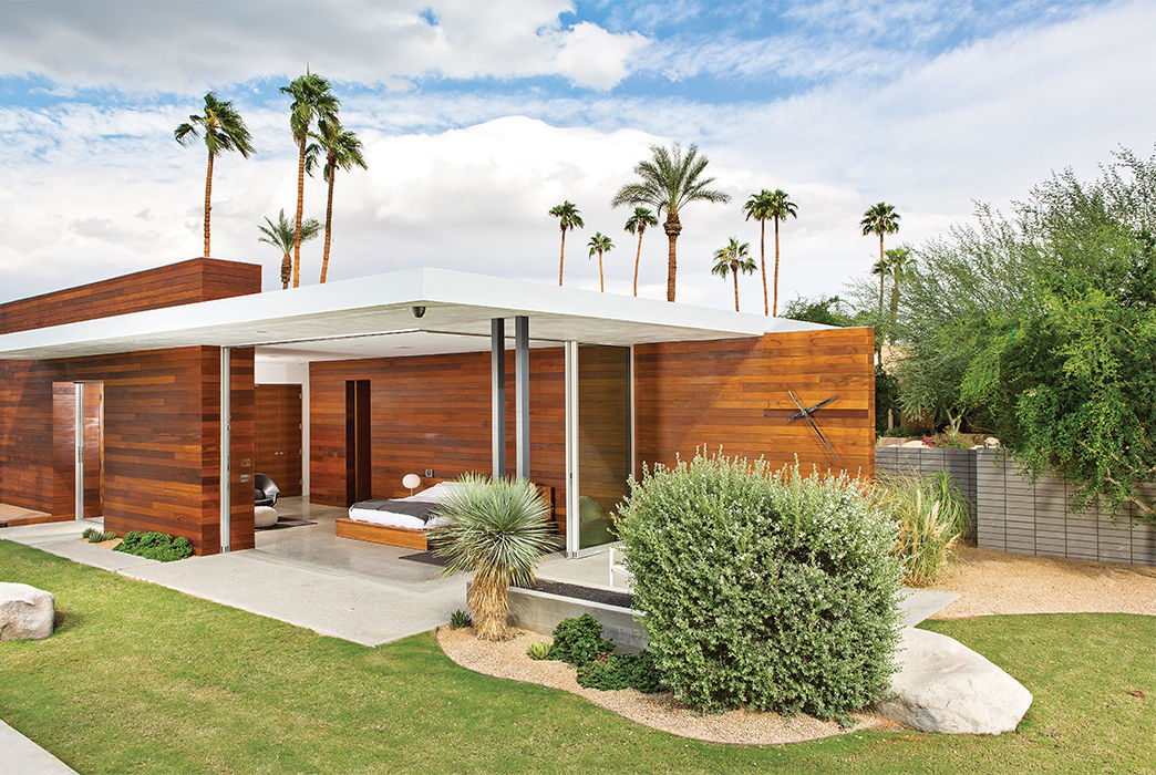 Master Bedroom opens outdoors at Indian Summer home in Southern California