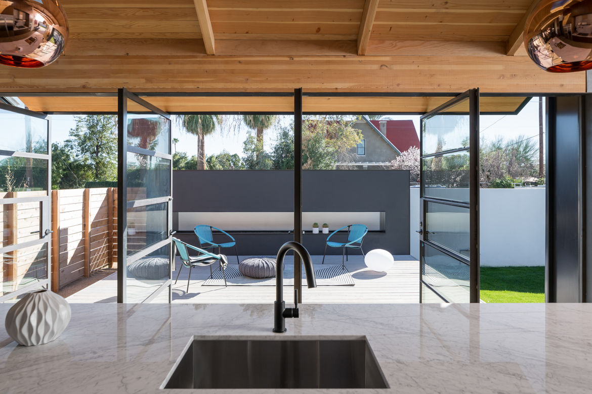 South Side Porch of Industrial Bungalow in Phoenix