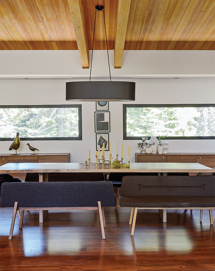 Dining table with bench seating.