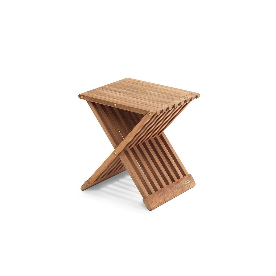 Simple teak folding stool for indoor and outdoor use